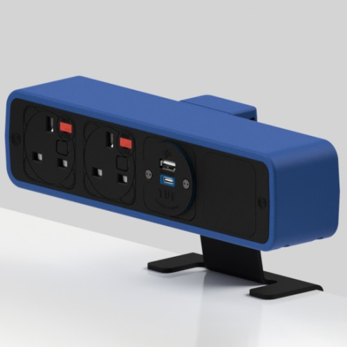 Pulse 2 x UK FUSED socket, 1 x TUF-R (USB A+ USB C) On-Surface Power Module - Black/Dark Blue