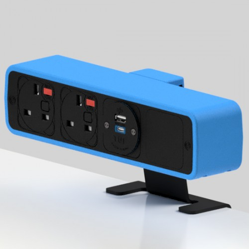 Pulse 2 x UK FUSED socket, 1 x TUF-R (USB A+ USB C) On-Surface Power Module - Black/Light Blue