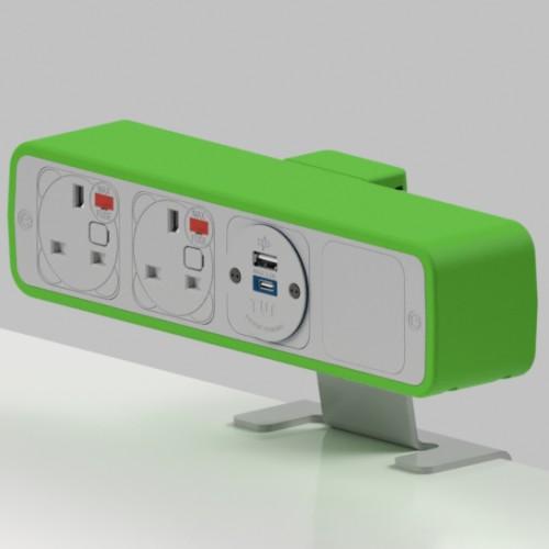 Pulse 2 x UK FUSED socket, 1 x TUF-R (USB A+ USB C) On-Surface Power Module - White/Light Green