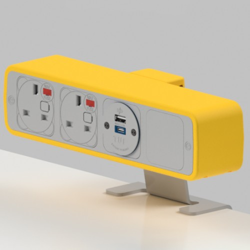 Pulse 2 x UK FUSED socket, 1 x TUF-R (USB A+ USB C) On-Surface Power Module - White/Light Orange
