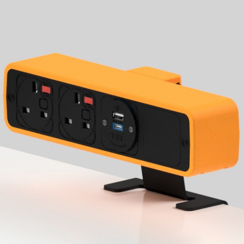 Pulse 2 x UK FUSED socket, 1 x TUF-R (USB A+ USB C) On-Surface Power Module - Black/Orange