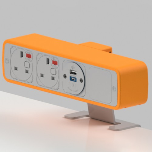 Pulse 2 x UK FUSED socket, 1 x TUF-R (USB A+ USB C) On-Surface Power Module - White/Orange
