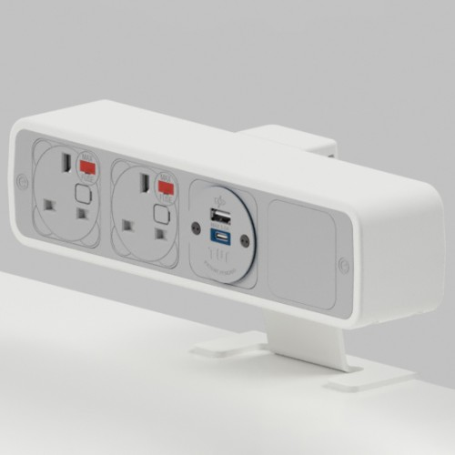 Pulse 2 x UK FUSED socket, 1 x TUF-R (USB A+ USB C) On-Surface Power Module - White