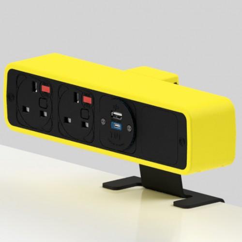 Pulse 2 x UK FUSED socket, 1 x TUF-R (USB A+ USB C) On-Surface Power Module - Black/Yellow