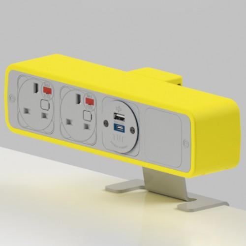 Pulse 2 x UK FUSED socket, 1 x TUF-R (USB A+ USB C) On-Surface Power Module - White/Yellow