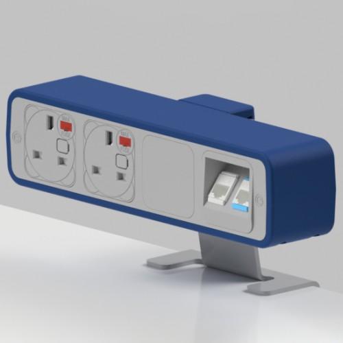 Pulse 2 x UK FUSED socket, 2 x RJ45 Cat5e LAN Socket On-Surface Power and Data Module - White/Dark Blue