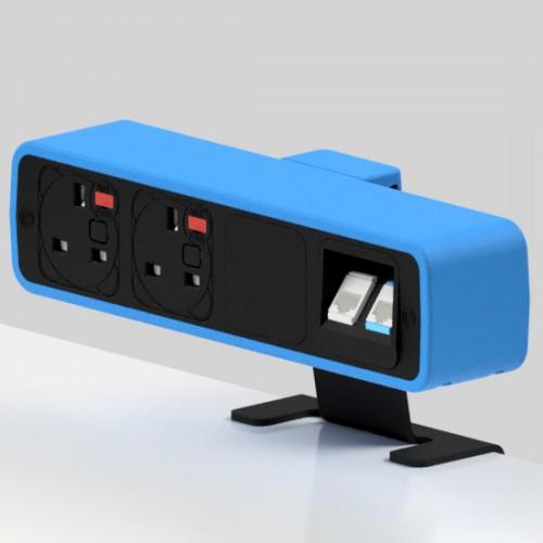 Pulse 2 x UK FUSED socket, 2 x RJ45 Cat6 LAN Socket On-Surface Power and Data Module - Black/Light Blue