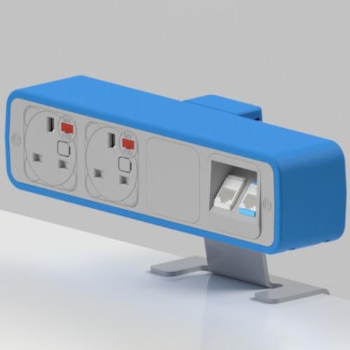 Pulse 2 x UK FUSED socket, 2 x RJ45 Cat5e LAN Socket On-Surface Power and Data Module - White/Light Blue