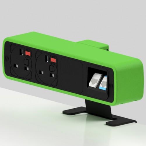Pulse 2 x UK FUSED socket, 2 x RJ45 Cat6 LAN Socket On-Surface Power and Data Module - Black/Light Green