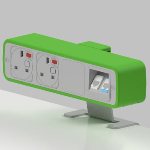 Pulse 2 x UK FUSED socket, 2 x RJ45 Cat5e LAN Socket On-Surface Power and Data Module - White/Light Green