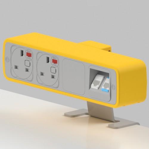 Pulse 2 x UK FUSED socket, 2 x RJ45 Cat5e LAN Socket On-Surface Power and Data Module - White/Light Orange