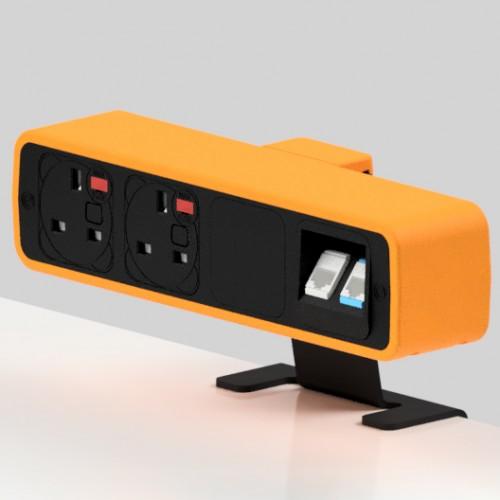 Pulse 2 x UK FUSED socket, 2 x RJ45 Cat6 LAN Socket On-Surface Power and Data Module - Black/Orange