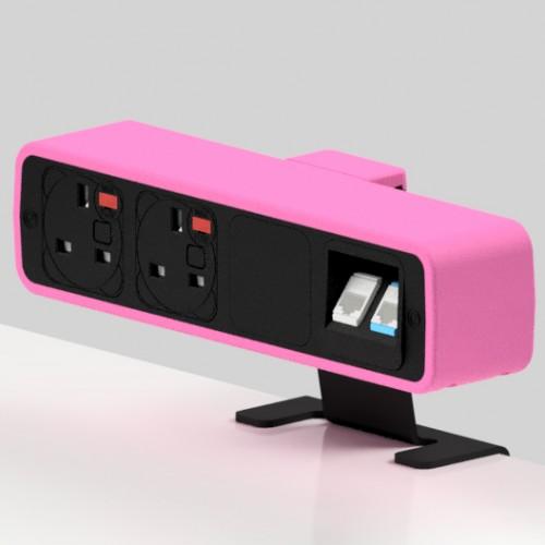 Pulse 2 x UK FUSED socket, 2 x RJ45 Cat5e LAN Socket On-Surface Power and Data Module - Black/Hot Pink