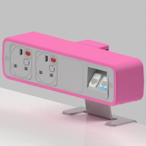 Pulse 2 x UK FUSED socket, 2 x RJ45 Cat5e LAN Socket On-Surface Power and Data Module - White/Hot Pink