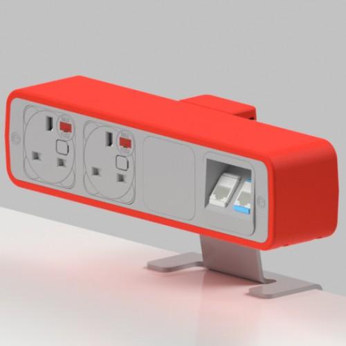 Pulse 2 x UK FUSED socket, 2 x RJ45 Cat5e LAN Socket On-Surface Power and Data Module - White/Red