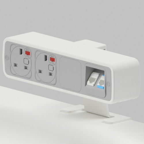 Pulse 2 x UK FUSED socket, 2 x RJ45 Cat5e LAN Socket On-Surface Power and Data Module - White