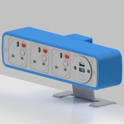 Pulse 3 x UK FUSED socket, 1 x TUF-R (USB A+ USB C) On-Surface Power Module - White/Light Blue