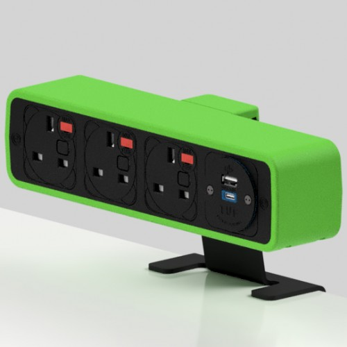 Pulse 3 x UK FUSED socket, 1 x TUF-R (USB A+ USB C) On-Surface Power Module - Black/Light Green