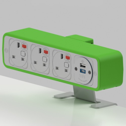 Pulse 3 x UK FUSED socket, 1 x TUF-R (USB A+ USB C) On-Surface Power Module - White/Light Green