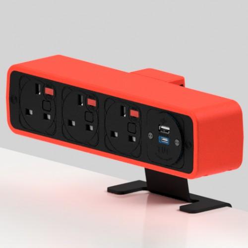 Pulse 3 x UK FUSED socket, 1 x TUF-R (USB A+ USB C) On-Surface Power Module - Black/Red