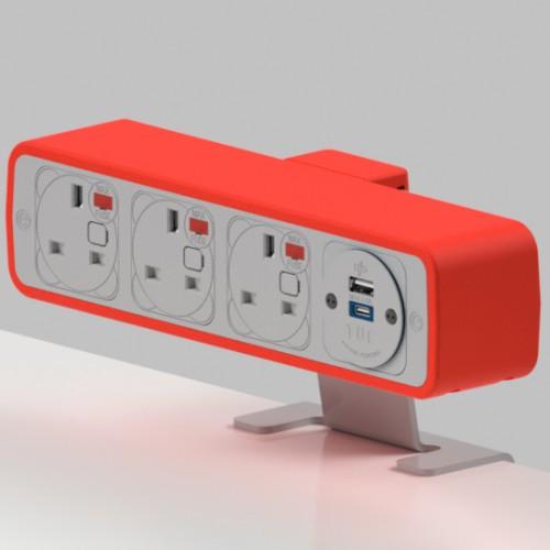 Pulse 3 x UK FUSED socket, 1 x TUF-R (USB A+ USB C) On-Surface Power Module - White/Red