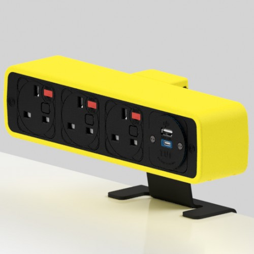 Pulse 3 x UK FUSED socket, 1 x TUF-R (USB A+ USB C) On-Surface Power Module - Black/Yellow
