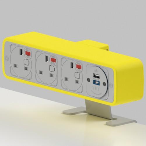 Pulse 3 x UK FUSED socket, 1 x TUF-R (USB A+ USB C) On-Surface Power Module - White/Yellow