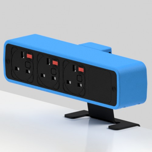 Pulse 3 x UK FUSED socket On-Surface Power Module - Black/Light Blue