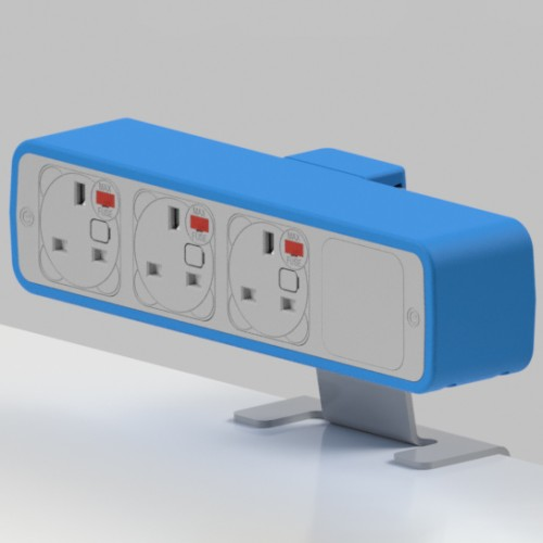 Pulse 3 x UK FUSED socket On-Surface Power Module - White/Light Blue