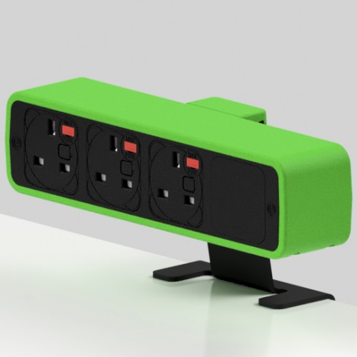 Pulse 3 x UK FUSED socket On-Surface Power Module - Black/Light Green