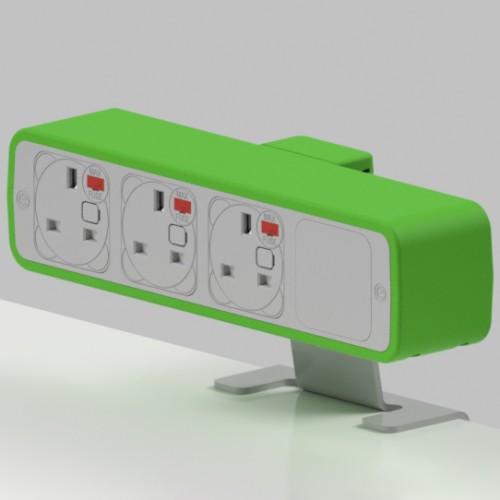 Pulse 3 x UK FUSED socket On-Surface Power Module - White/Light Green