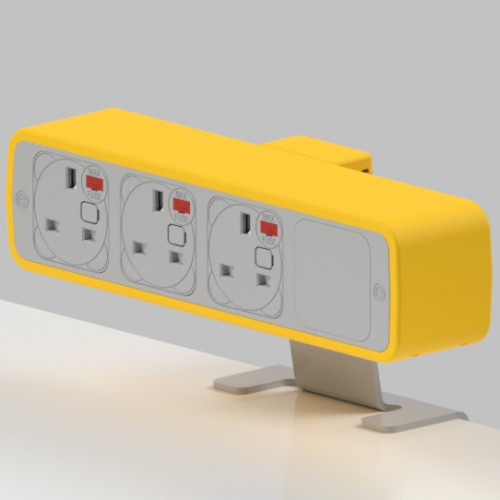 Pulse 3 x UK FUSED socket On-Surface Power Module - White/Light Orange