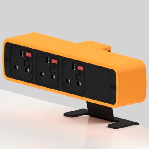 Pulse 3 x UK FUSED socket On-Surface Power Module - Black/Orange