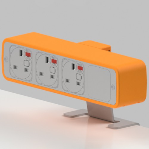 Pulse 3 x UK FUSED socket On-Surface Power Module - White/Orange