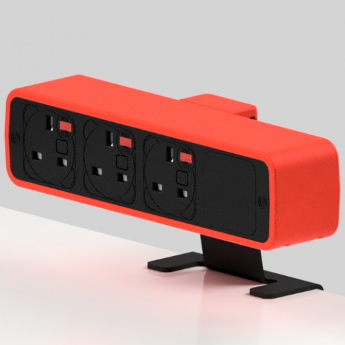Pulse 3 x UK FUSED socket On-Surface Power Module - Black/Red