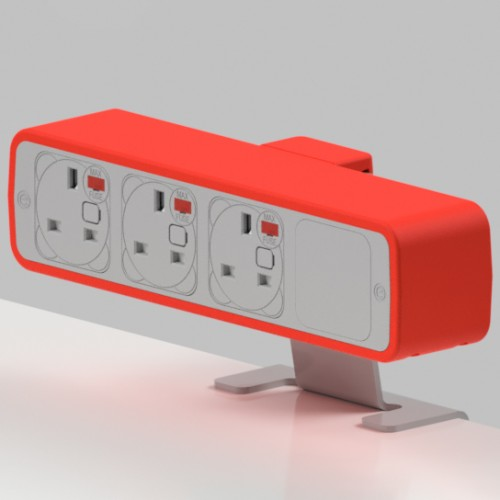 Pulse 3 x UK FUSED socket On-Surface Power Module - White/Red