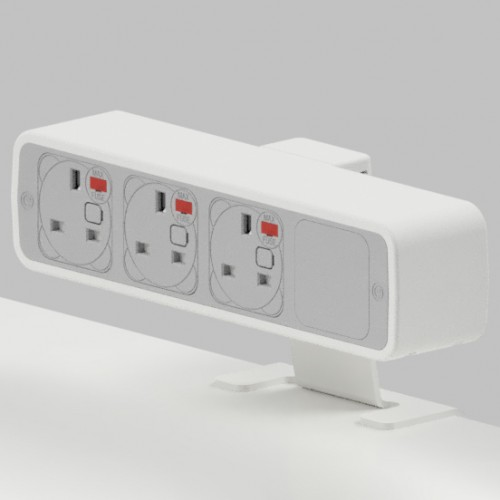 Pulse 3 x UK FUSED socket On-Surface Power Module - White