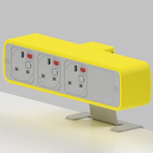 Pulse 3 x UK FUSED socket On-Surface Power Module - White/Yellow