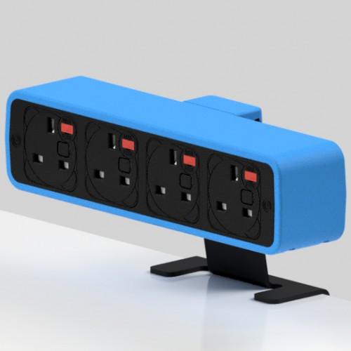 Pulse 4 x UK FUSED socket On-Surface Power Module - Black/Light Blue