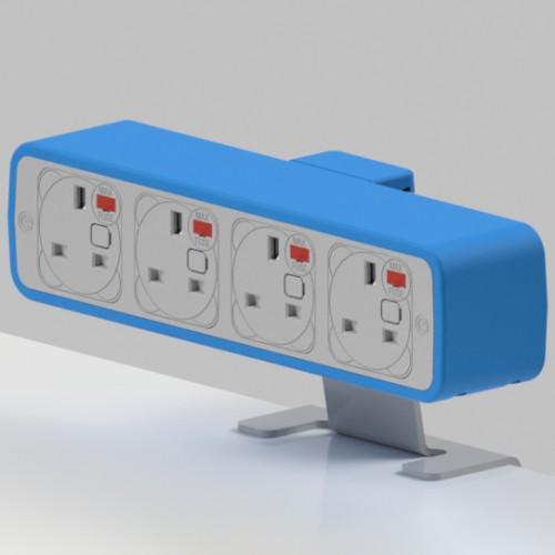Pulse 4 x UK FUSED socket On-Surface Power Module - White/Light Blue