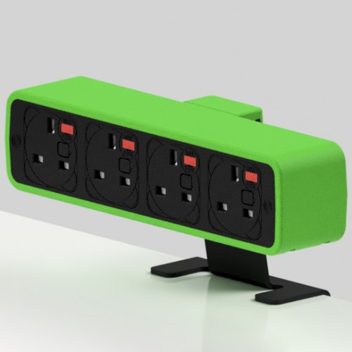 Pulse 4 x UK FUSED socket On-Surface Power Module - Black/Light Green