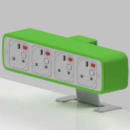 Pulse 4 x UK FUSED socket On-Surface Power Module - White/Light Green