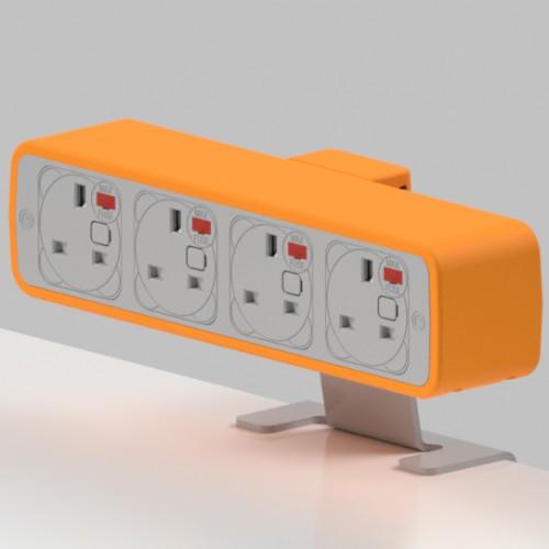 Pulse 4 x UK FUSED socket On-Surface Power Module - White/Orange
