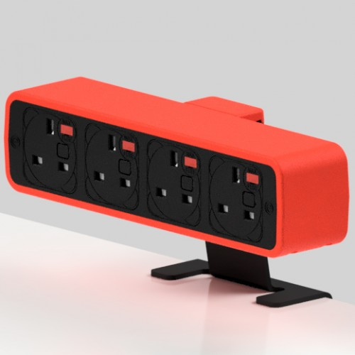 Pulse 4 x UK FUSED socket On-Surface Power Module - Black/Red