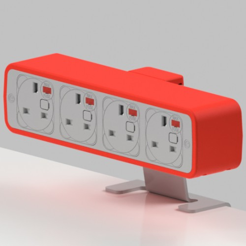 Pulse 4 x UK FUSED socket On-Surface Power Module - White/Red