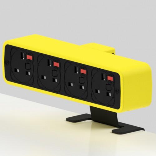 Pulse 4 x UK FUSED socket On-Surface Power Module - Black/Yellow