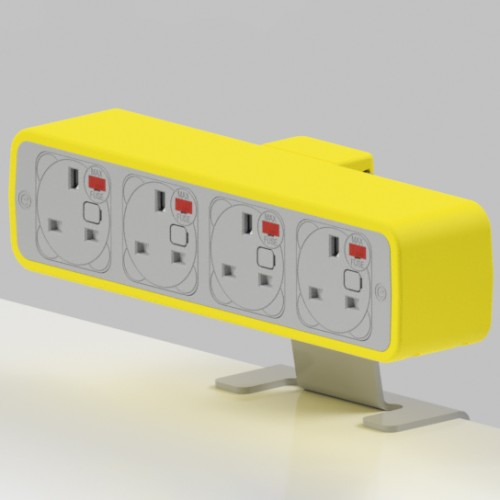 Pulse 4 x UK FUSED socket On-Surface Power Module - White/Yellow