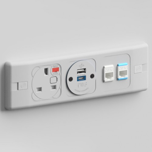 Puma In-Surface 1 x UK FUSED Socket, 1 x TUF-R (USB A+ USB C), 2 x RJ45 Outlet 3m Cat5e Power and Data Module - Grey