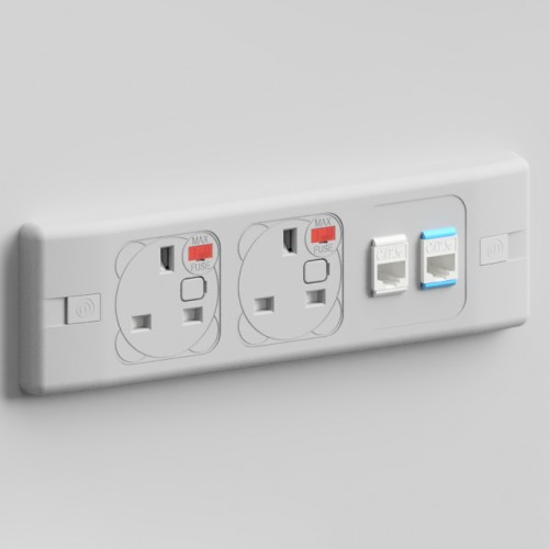Puma In-Surface 2 x UK FUSED Socket, 2 x RJ45 Outlet 3m Cat5e Power and Data Module - Grey