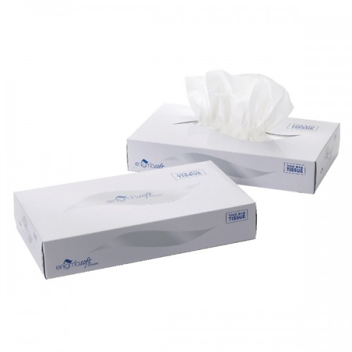 Cotton Facial Tissues F/Box White Pk100